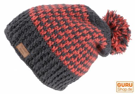 Beanie Mütze, Bommelmütze, Wollmütze aus Nepal - grau/lachs - Vorschau 2