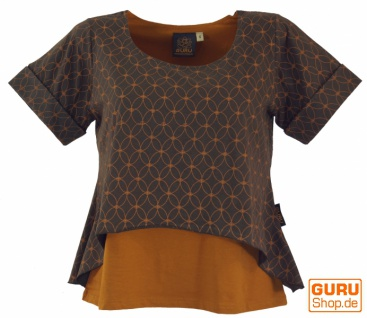 "Yoga-T-Shirt, Yoga Lagen-Shirt "" Blume des Lebens"" - coffee"