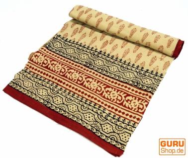 Indische Blockdruck Tagesdecke, Bett & Sofaüberwurf, Wandbehang, Wandtuch - Blatt