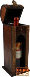 Weinflaschen Holz Box mit Messingverzierungen, Geschenkverpackung Weinflasche Geschenkbox, Weinbox, Wein Kiste - Modell 3