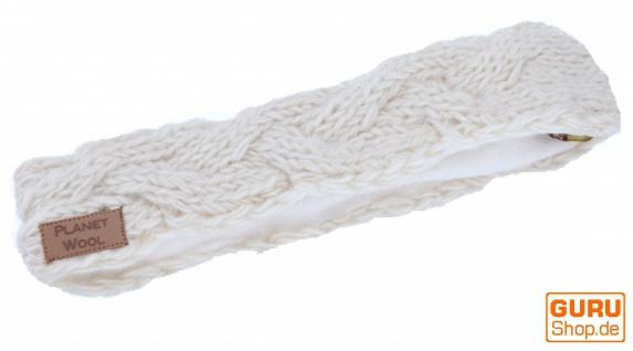 Geflochtenes Woll-Strick-Stirnband, gestrickter Ohrenwärmer - naturweiß