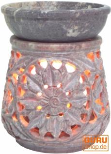 Indische Duftlampe, ätherisches Öl Diffusor, Teelicht Halter für Aromatherapie, Aromalampe aus Speckstein - Rund Blüte 3 - Vorschau 2