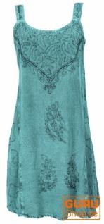 Besticktes Indisches Minikleid Boho chic, Hippie Tunika - türkis Design 16