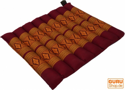 Thai Stuhlkissen, Bodenkissen, Sitzunterlage aus Kapok, 35*40 cm - rot/gelb