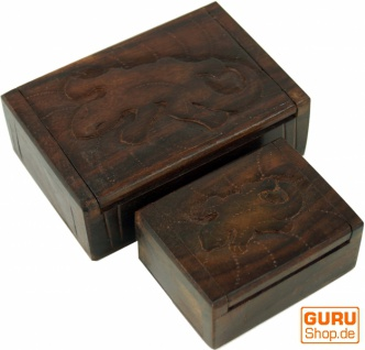 Beschnitzte Holzdose, Schatztruhe, Schmuck Schatulle in 2 Größen - Gecko