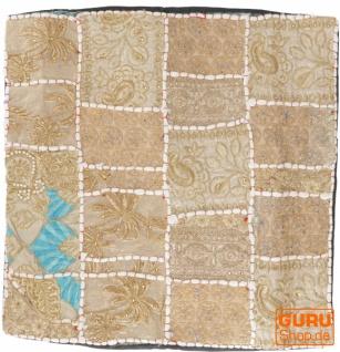 Patchwork Kissenhülle, Dekokissen Bezug aus Rajasthan, Einzelstück - Muster 62