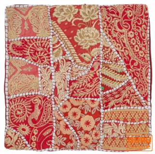 Patchwork Kissenhülle, Dekokissen Bezug aus Rajasthan, Einzelstück - Muster 47