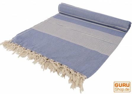 Weiche gewebte double Tagesdecke `Kerala` aus Baumwolle mit Fransen - blau