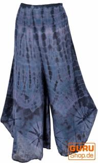 Farbenfroher Batik Hosenrock, weite Sommerhose - blau