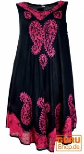 Tunikakleid XXL, bestickte Tunika Hippie chic - schwarz/pink