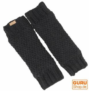 Wollstulpen mit Perlmuster, Strickstulpen aus Nepal, Beinstulpen - schwarz