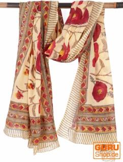 Leichter Pareo, Sarong, handbedrucktes Baumwolltuch - Farb Kombination 21