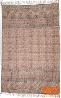 Handgewebter Blockdruck Teppich aus natur Baumwolle mit traditionellem Design - Muster 26