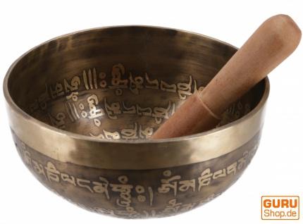 Klangschale, handgefertigt aus Nepal mit Intarsien und buddhistisch / tibetischen Motiven, incl. Klöppel - Ø 14, 5 cm Modell 10