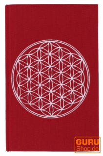 Notizbuch, Tagebuch - Blume des Lebens rot