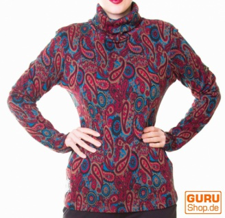Pullover aus Bio-Baumwolle / Chapati Design - olive paisley