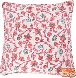 Kissenbezug Blockdruck, Kissenhülle mit Blumendruck, Dekokissen Bezug mit traditionellem Design 50*50 cm - Muster 2