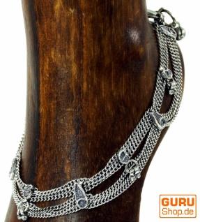 Indisches Fußkettchen, orientalische Weißmetall Fußkette - Model 12