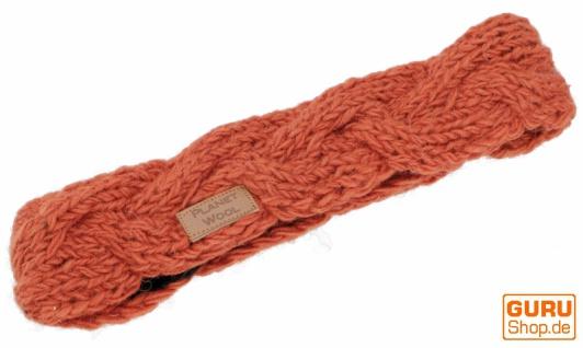 Geflochtenes Woll-Strick-Stirnband, gestrickter Ohrenwärmer - rostorange