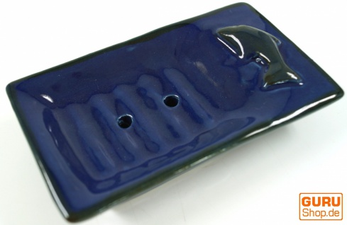 Exotische Keramik Seifenschale - Delfin/blau