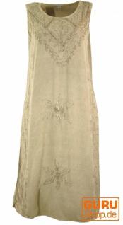 Besticktes Boho Sommerkleid, indisches Hippie Kleid, beige - Design 20