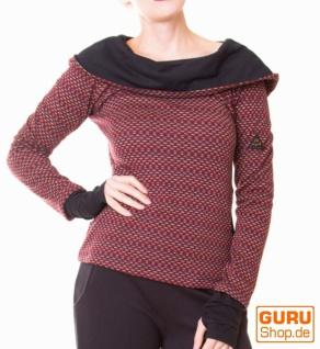 Pullover aus Bio-Baumwolle mit Kapuze / Chapati Design - wine polka