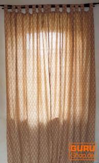 Vorhang, Gardine (1 Paar Vorhänge, Gardinen) mit Schlaufen, handbedruckt - Muster weiß / rot