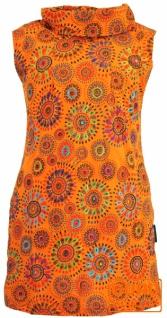 Bestickte Mädchen Tunika mit Schalkragen, kurzärmeliges Ethno Minikleid - orange