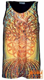 Psytrance Tank Top, Männer Top - Blume des Lebens im Baum des Lebens