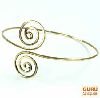 Tribal Oberarm Spange, Goa Armreif Spirale Messing