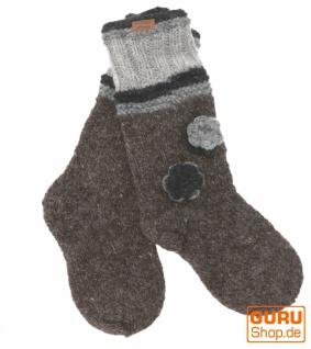 Handgestrickte Schafwollsocken mit Blümchen, Haussocken, Nepal Socken - grau