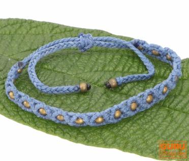 Ethno Perlenarmband, Makrameee Armband - blau