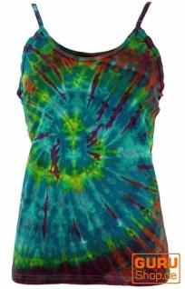 Farbenfrohes Goa-Batik Top, Batiktop - petrol