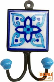 Doppelwandhaken, Garderobenhaken mit handgefertigter Keramik Fliese - Modell 1