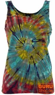 Farbenfrohes Goa-Batik Tanktop, Batiktop - blaugrau