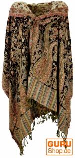 Indischer Pashmina Schal, Schultertuch, Stola mit Paisley Muster - dunkelbraun