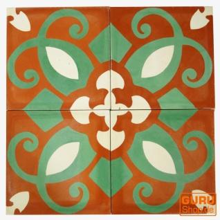 Zementfliesen Set, Ornament aus 4 Fliesen, rot - Design 3