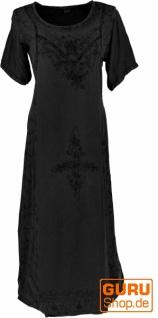 Besticktes Boho Sommerkleid, indisches Hippie Kleid - schwarz/Design 11