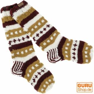Handgestrickte Schafwollsocken, Nepal Socken - caramel