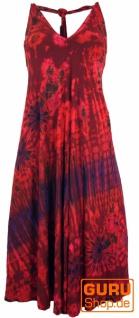 Rückenfreies Batik Midikleid, Neckholder Boho Pixi Kleid - rot