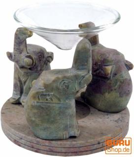 Indische Duftlampe, ätherisches Öl Diffusor, Teelicht Halter für Aromatherapie, Aromalampe aus Speckstein mit Glasteller - Elefanten