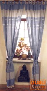 Vorhang, Gardine aus grob gewebter weicher Baumwolle (1 Paar Vorhänge, Gardinen) - blau