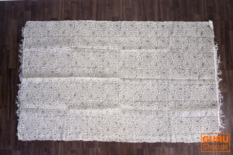 Handgewebter Blockdruck Teppich aus natur Baumwolle mit traditionellem Design - Muster 32