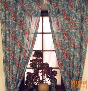 Boho Vorhänge, Gardine (1 Paar ) mit Schlaufen, leicht transparenter handbedruckter ethno Style Vorhang - Muster 5