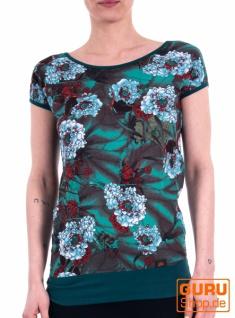 T-Shirt / Chapati Design - peacock blue asian
