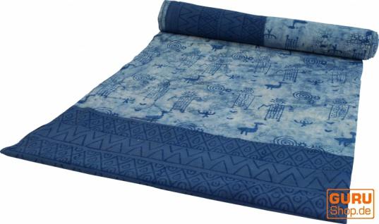 Blockdruck Tagesdecke, Bett & Sofaüberwurf, handgearbeiteter Wandbehang, Wandtuch - indigo tribal