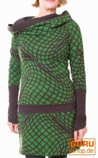 Langärmlige Tunika aus Bio-Baumwolle mit Kapuze / Chapati Design - green/choco