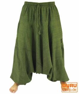Haremshose Pluderhose Pumphose Aladinhose aus Baumwolle - grün