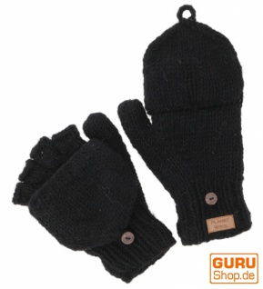 Handschuhe, handgestrickte Klapphandschuhe, Fingerhandschuhe uni, extra groß - schwarz