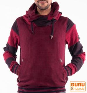 Pullover mit Kapuze aus Bio-Baumwolle / Chapati Design - burg/black